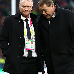 LONDON, ENGLAND - OCTOBER 24: Grant Fox with Steve Hansen (Head Coach) of New Zealand during the Rugby World Cup Semi Final match between South Africa and New Zealand at Twickenham Stadium on October 24, 2015 in London, England. (Photo by Steve Haag/Gallo Images)