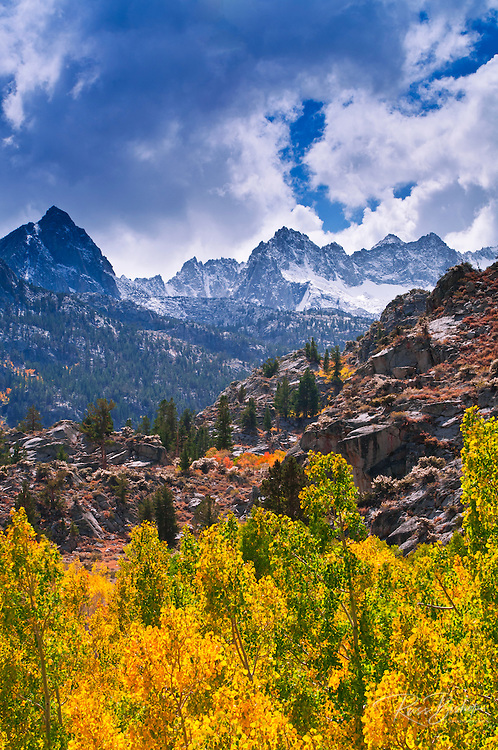 Fall color along Bishop Creek under Sierra peaks, Inyo National Forest, Sierra Nevada Mountains, California USA