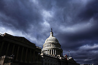 The US Capitol Building under cloudy skies in Washington, DC on January 25, 2006.