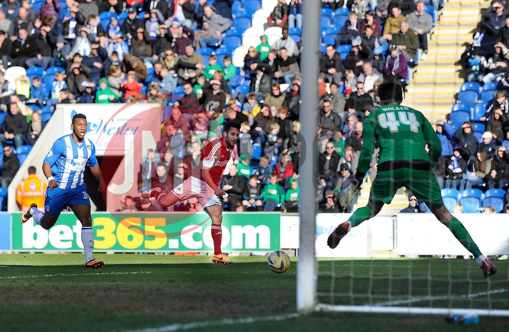 Bristol City's Sam Baldock takes a shot at goal. - Photo mandatory by-line: Dougie Allward/JMP - Mobile: 07966 386802 22/03/2014 - SPORT - FOOTBALL - Colchester - Colchester Community Stadium - Colchester United v Bristol City - Sky Bet League One