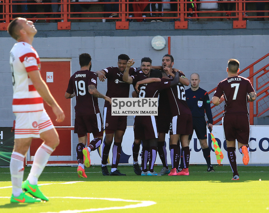 Heart's Callum Paterson celebrates his goal to put his team in front during the Hamilton Academical FC  V Heart of Midlothian FC Scottish Premiership 29th August 2015  ©Edward Linton   SportPix.org.uk