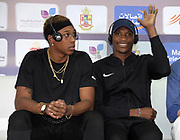 Juan Miguel Echevarria (CUB), left, and Luvo Manyonga (RSA) at an IAAF Diamond League press conference prior to the  Meeting International Mohammed VI d'Athletisme de Rabat 2019, Saturday, June 15, 2019, in Rabat, Morocco. (Image of Sport)