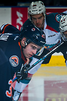 KELOWNA, CANADA - MARCH 24: Garrett Pilon #41 of the Kamloops Blazers faces off against the Kelowna Rockets on March 24, 2017 at Prospera Place in Kelowna, British Columbia, Canada.  (Photo by Marissa Baecker/Shoot the Breeze)  *** Local Caption ***