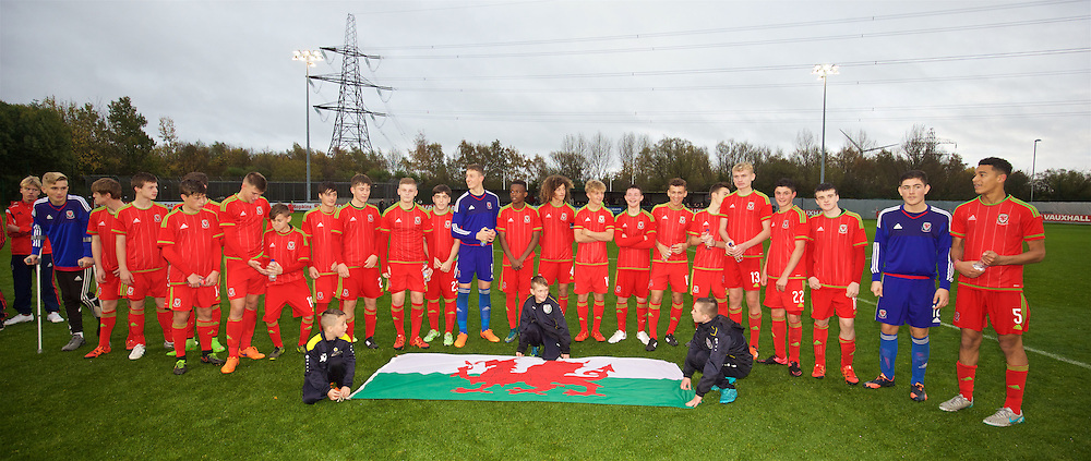 NEWPORT, WALES - Thursday, November 5, 2015: Wales players after the Under-16's Victory Shield International match against Northern Ireland at Dragon Park. (Pic by David Rawcliffe/Propaganda)