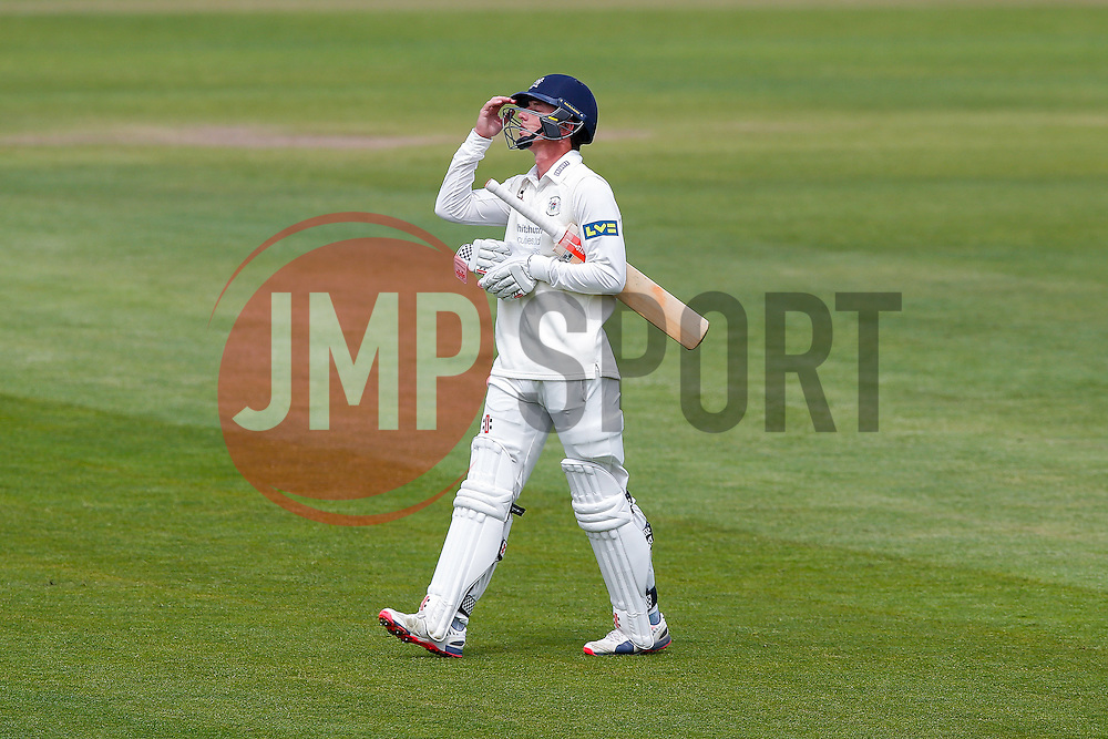 William Tavare of Gloucestershire walks away dejected after being Caught Out by Wayne Madsen of Derbyshire (b. Shiv Thakor) on 48 runs, just short of his half century - Photo mandatory by-line: Rogan Thomson/JMP - 07966 386802 - 26/04/2015 - SPORT - CRICKET - Bristol, England - Bristol County Ground - Gloucestershire v Derbyshire — Day 1 - LV= County Championship Division Two.