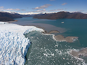 An aerial view of the Bruggen glacier, also known as Pio XI, is located in the Bernardo O'Higgins National Park and is the longest glacier in the southern hemisphere outside of Antarctica.