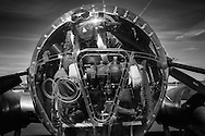 Reenactor in the bombardier position on Aluminum Overcast.
