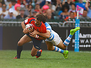 Spanish player Manuel Sainz scores a try in the game Argentina vs Spain during the Cathay Pacific/HSBC Hong Kong Sevens festival at the Hong Kong Stadium, So Kon Po, Hong Kong. on 8/04/2018. Picture by Ian  Muir.