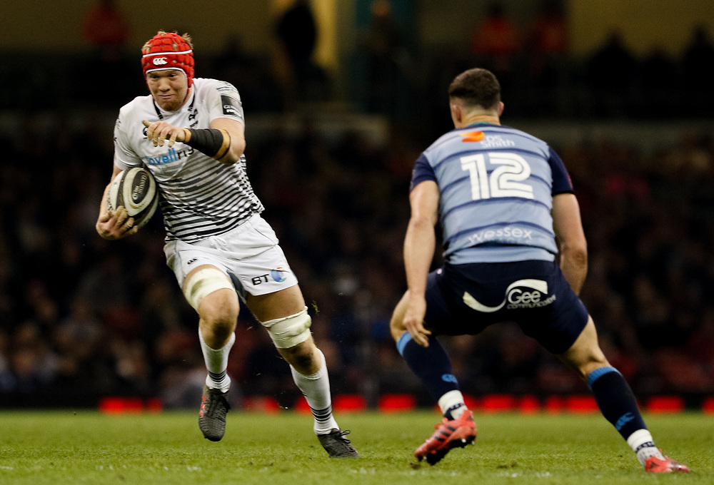 Ospreys' Sam Cross<br /> <br /> Photographer Simon King/Replay Images<br /> <br /> Guinness PRO14 Round 21 - Cardiff Blues v Ospreys - Saturday 28th April 2018 - Principality Stadium - Cardiff<br /> <br /> World Copyright © Replay Images . All rights reserved. info@replayimages.co.uk - http://replayimages.co.uk