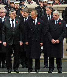 (c) London News Pictures. 13/11/2010. Pictured -  Former Prime Ministers Gordon Brown, Tony Blair and John Major at Remembrance Sunday service at the Cenotaph today (Sun). The Queen today (Sun) led the Remembrance Sunday service at the Cenotaph in London in honour of those who have died in wars and conflicts. Picture credit should read: Will Oliver/London News Pictures