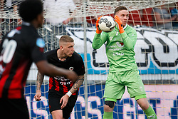 (L-R) Jordy de Wijs of Excelsior, goalkeeper Ogmundur Kristinsson of Excelsior during the Dutch Eredivisie match between sbv Excelsior Rotterdam and Heracles Almelo at Van Donge & De Roo stadium on April 18, 2018 in Rotterdam, The Netherlands