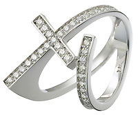 diamond and platinum cross ring