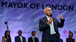 © Licensed to London News Pictures. 16/10/2016. London, UK. Sadiq Khan, Mayor of London, attends the official opening ceremony of the annual Diwali taking place in Trafalgar Square. Photo credit : Stephen Chung/LNP