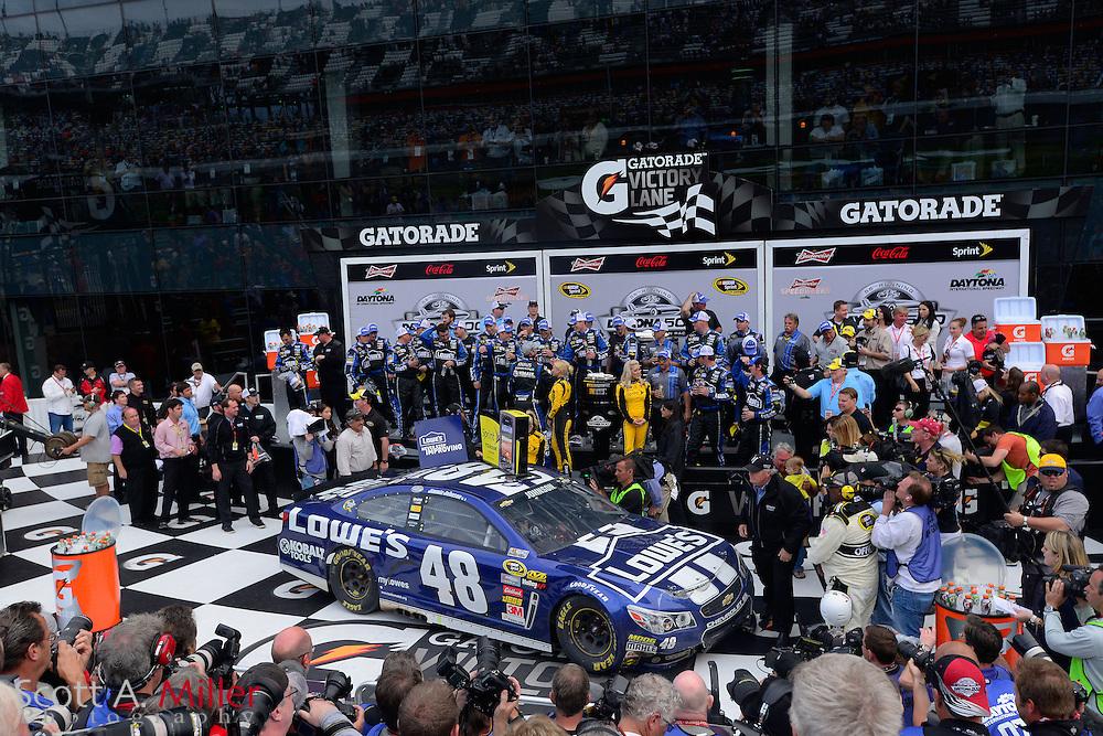 NASCAR Sprint Cup driver Jimmie Johnson (48) celebrates winning the Daytona 500 Sprint Cup race at the Daytona International Speedway on Feb 24, 2013 in Daytona Beach, Florida. ...©2013 Scott A. Miller