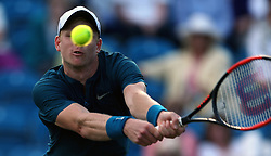 Great Britain's Kyle Edmund after losing his match during day five of the Nature Valley International at Devonshire Park, Eastbourne.