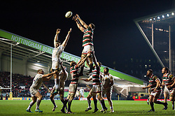 Mike Fitzgerald of Leicester Tigers wins the ball at a lineout - Mandatory byline: Patrick Khachfe/JMP - 07966 386802 - 03/03/2017 - RUGBY UNION - Welford Road - Leicester, England - Leicester Tigers v Exeter Chiefs - Aviva Premiership.