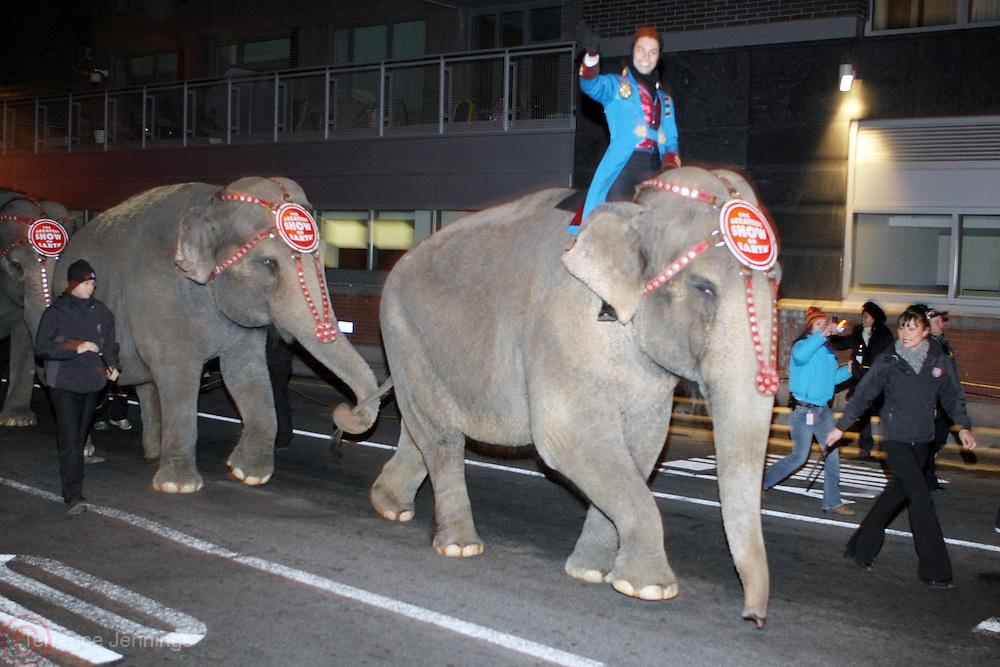 Atmosphere at the Ringling Brothers & Barnum and Bailey Circus comes to NYC via Elephant and Horses Walk through the Mid-town Tunnel and along 34th Street to Madison Square Garden on March 24, 2009