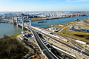Nederland, Zuid-Holland, Rotterdam, 18-02-2015; oostelijke toerit Botlektunnel onder de Oude Maas, gezien naar de nieuwe Botlekbrug  (in aanbouw).<br /> Eastern entrance Botlektunnel under the Old Meuse and the new Botlek bridge (under construction). <br /> luchtfoto (toeslag op standard tarieven);<br /> aerial photo (additional fee required);<br /> copyright foto/photo Siebe Swart