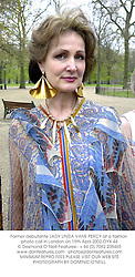 Former debutante LADY LINDA VANE PERCY at a fashion photo call in London on 15th April 2002.	OYX 44