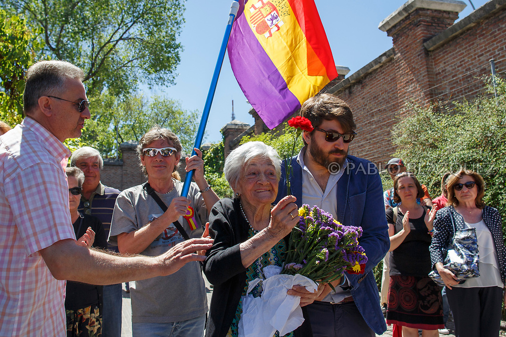 02/07/2017. Ascension Mendieta leaves after the burial of her father, Timoteo Mendieta, who was assassinated in 1939 by dictator Franco's forces at a cemetery on July 2, 2017 in Madrid, Spain. General Franco forces killed Ascension's father Timoteo Mendieta in 1939 after Spain's Civil War and buried him in a mass grave in Guadalajara's cemetery together with another 22 people assassinated. Argentinian judge Maria Servini used the international human rights law and ordered the exhumation and investigation of Mendieta's mass grave. The exhumation was carried out by Association for the Recovery of Historical Memory (ARMH). Spain's Civil War took the lives of thousands of people on both sides, but Franco continued his executions after the war has finished. Spanish governments has never done anything to help the victims of the Civil War and Franco's dictatorship while there are still thousands of people missing in mass graves around the country. (© Pablo Blazquez)