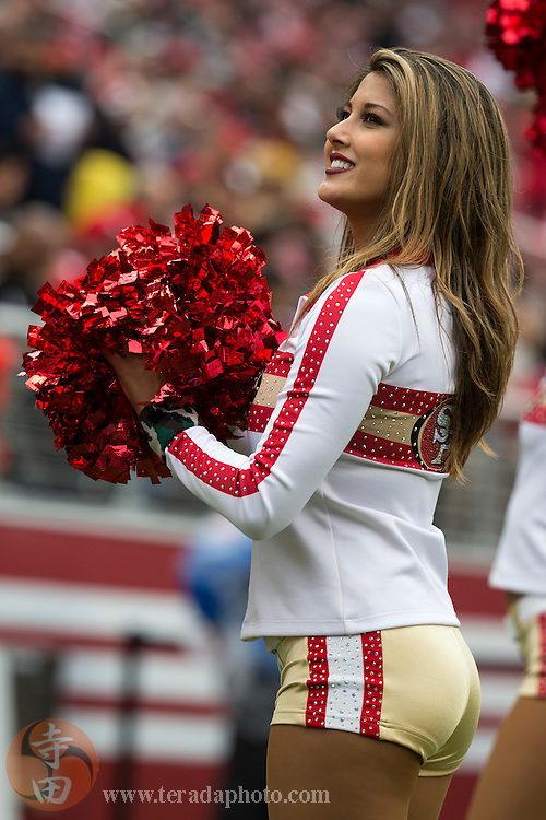 November 8, 2015; Santa Clara, CA, USA; San Francisco 49ers Gold Rush cheerleader Jessa performs during the second quarter against the Atlanta Falcons at Levi's Stadium. The 49ers defeated the Falcons 17-16.