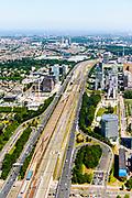 Nederland, Noord-Holland, Amsterdam-Zuid, 29-06-2018; Overzicht Zuid-as richting Station-Zuid en lokatie toekomstig Zuidasdok. Amstelveenseweg.<br /> Overview 'South-axis', financial district<br /> luchtfoto (toeslag op standard tarieven);<br /> aerial photo (additional fee required);<br /> copyright foto/photo Siebe Swart