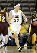 25 JANUARY 2007: Iowa guard Lindsey Nyenhuis (50) pumps her first after a score in Iowa's 80-78 overtime loss to Minnesota at Carver-Hawkeye Arena in Iowa City, Iowa on January 25, 2007.