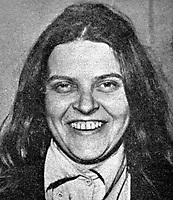 Bridget Rose Dugdale, English, former debutante who rebelled against her wealthy background and became a volunteer in the Provisional IRA.  As well as being wanted by the security forces in N Ireland she was also sought by police in the Rep of Ireland in connection with a major art theft. 197405000114RD2.<br /> <br /> Copyright Image from Victor Patterson, 54 Dorchester Park, Belfast, UK, BT9 6RJ<br /> <br /> t1: +44 28 9066 1296 (from Rep of Ireland 048 9066 1296)<br /> t2: +44 28 9002 2446 (from Rep of Ireland 048 9002 2446)<br /> m: +44 7802 353836<br /> <br /> victorpattersonbelfast@gmail.com<br /> victorpatterson@me.com<br /> <br /> www.victorpatterson.com<br /> <br /> Please see my Terms and Conditions of Use at https://www.victorpatterson.com/page2<br /> It is IMPORTANT that you familiarise yourself with them.<br /> <br /> Images used on the Internet incur an additional cost and must be visibly watermarked i.e. © Victor Patterson within the body of the image and copyright metadata must not be deleted. Images used on the Internet have a size restriction of 4kbs and are chargeable at rates available at victorpatterson.com.<br /> <br /> This image is available only for the use of the download recipient i.e. television station, newspaper, magazine, book publisher, etc, and must not be passed on to any third party. It is also downloaded on condition that each and every usage is notified within 7 days to victorpatterson@me.com<br /> <br /> The right of Victor Patterson (or the named photographer) to be identified as the author is asserted in accordance with The Copyright Designs And Patents Act (1988). All moral rights are asserted.