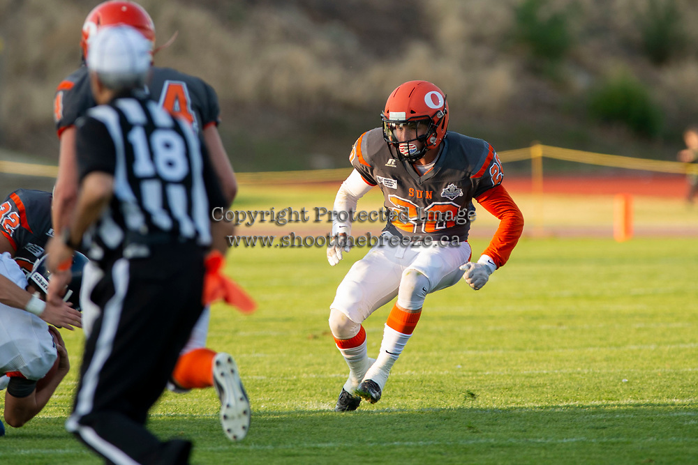 KELOWNA, BC - AUGUST 3:  Tyler Going #20 of Okanagan Sun looks for the ball against the Kamloops Broncos  at the Apple Bowl on August 3, 2019 in Kelowna, Canada. (Photo by Marissa Baecker/Shoot the Breeze)