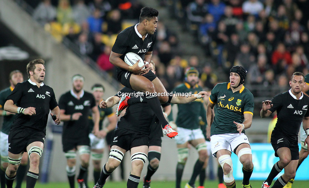 All Blacks' Julian Savea controls a high ball. New Zealand All Blacks V South Africa.The Rugby Championship. Rugby Union Test Match. Westpac Stadium, Wellington. 13 September 2014. Photo.: Grant Down / www.photosport.co.nz
