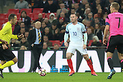 England Midfielder Wayne Rooney  during the FIFA World Cup Qualifier group stage match between England and Scotland at Wembley Stadium, London, England on 11 November 2016. Photo by Phil Duncan.