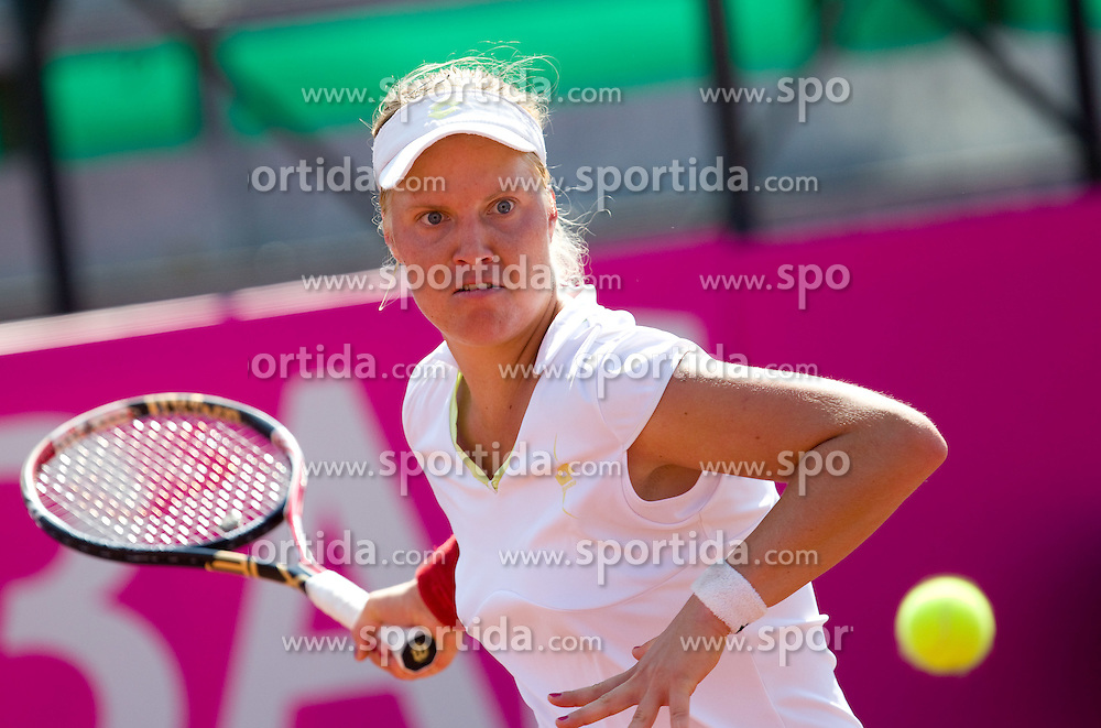 Masa Zec Peskiric of Slovenia playing against Eugenie Bouchard of Canada during the second day of the tennis Fed Cup match between Slovenia and Canada at Bonifika, on April 17, 2011 in Koper, Slovenia.  (Photo by Vid Ponikvar / Sportida)