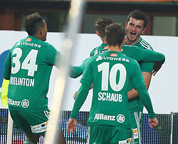12.02.2017, Ernst Happel Stadion, Wien, AUT, 1. FBL, FK Austria Wien vs SK Rapid Wien, 21. Runde, im Bild Torjubel Joelinton Cassio Apolinario de Lira (SK Rapid Wien), Mario Pavelic (SK Rapid Wien), Louis Schaub (SK Rapid Wien) und Giorgi Kvilitaia (SK Rapid Wien) // during Austrian Football Bundesliga Match, 21st Round, between FK Austria Vienna and SK Rapid Vienna at the Ernst Happel Stadion, Vienna, Austria on 2017/02/12. EXPA Pictures © 2017, PhotoCredit: EXPA/ Thomas Haumer