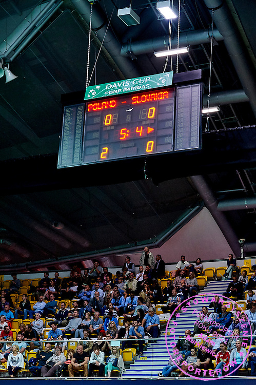 Official scoreboard during Davis Cup Tie World Group Play-off Poland v Slovakia at Gdynia Arena Hall in Gdynia, Poland.<br /> <br /> Poland, Gdynia, September 18, 2015<br /> <br /> Picture also available in RAW (NEF) or TIFF format on special request.<br /> <br /> For editorial use only. Any commercial or promotional use requires permission.<br /> <br /> Adam Nurkiewicz declares that he has no rights to the image of people at the photographs of his authorship.<br /> <br /> Mandatory credit:<br /> Photo by &copy; Adam Nurkiewicz / Mediasport