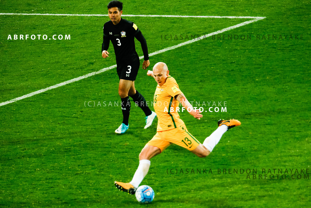 MELBOURNE, AUSTRALIA - SEPTEMBER 5 : Aaron Mooy of the Australia Socceroos has a shot on goal during the Stage 3 Group World Cup Football Qualifiers between Australia Vs Thailand at the Melbourne Rectangular Stadium, Melbourne, Australia 5 September 2017.