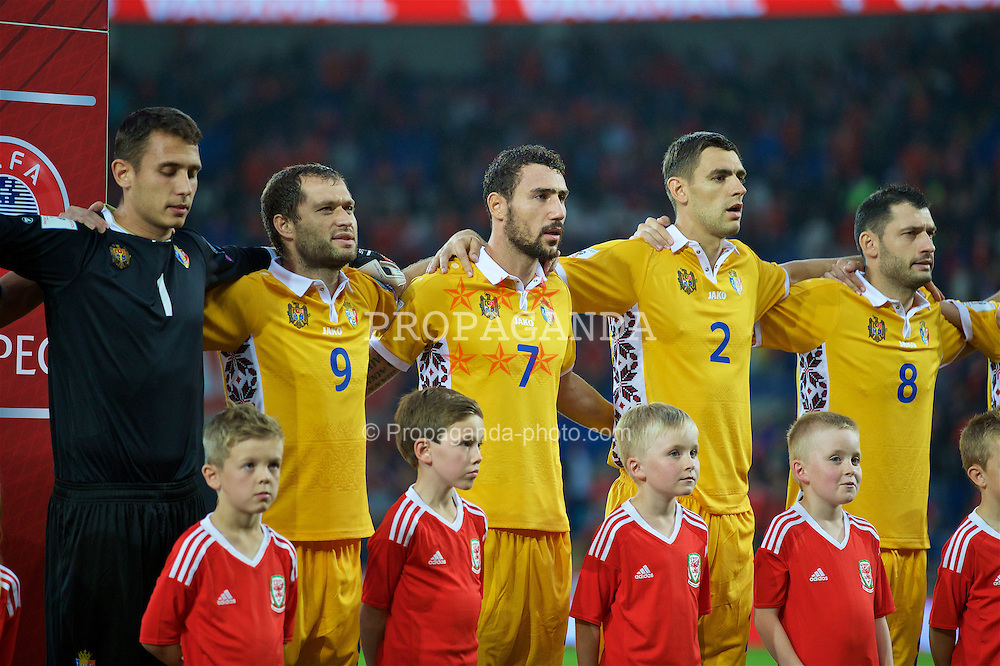 CARDIFF, WALES - Monday, September 5, 2016: Moldova's captain goalkeeper Ilie Cebanu, Eugeniu Cociuc, Artur Ionită, Igor Armaș and Alexandru Gațcan before the 2018 FIFA World Cup Qualifying Group D match against Wales at the Cardiff City Stadium. (Pic by David Rawcliffe/Propaganda)