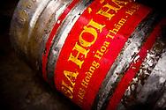 A keg of fresh brewed beer awaits transportation to a local bia hoi, Hanoi, Vietnam, Southeast Asia.