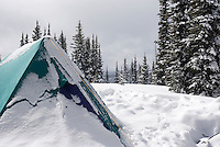 Winter backcountry camp in Manning Provincvial Park British Columbia Canada