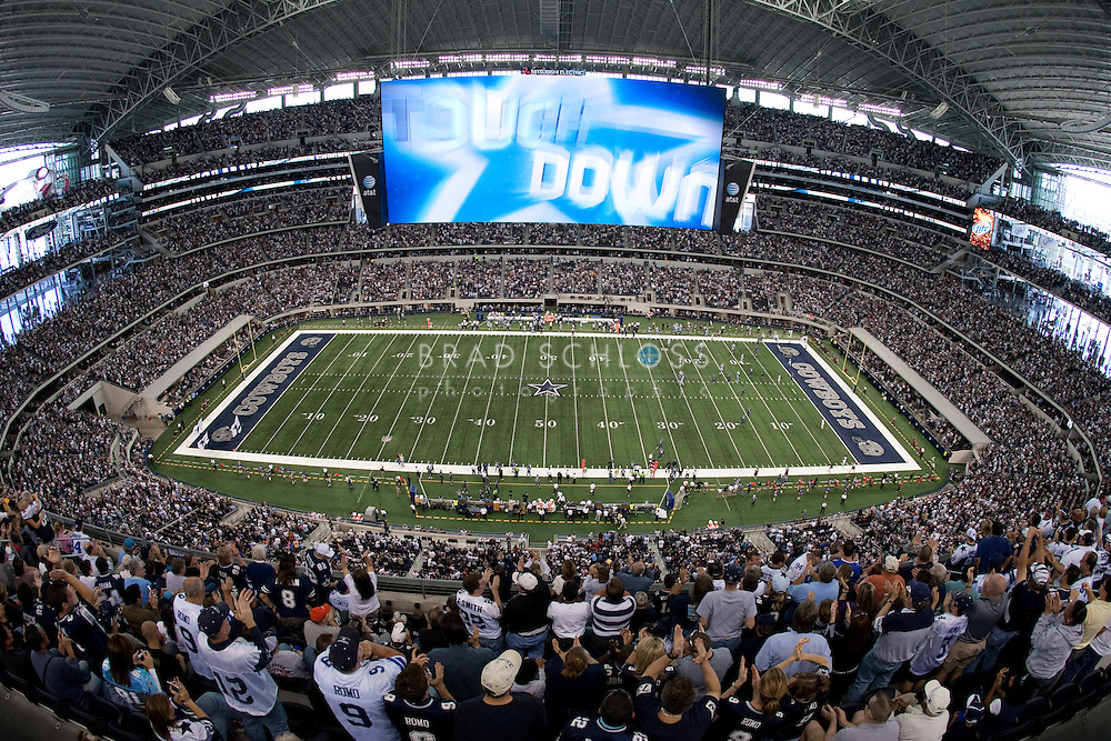 NOV 01 2009:  Wide angle shot of the new Cowboys Stadium featuring the largest HDTV in the world.  (Photo by Brad Schloss)