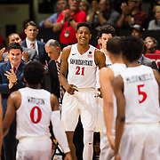 17 January 2018: San Diego State Aztecs forward Malik Pope (21) cheers on his team during a timeout break in the first half. San Diego State leads Fresno State 40-36 at halftime at Viejas Arena. <br /> More game action at www.sdsuaztecphotos.com