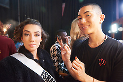 December 8, 2019, Atlanta, Georgia, USA: Sella Sharlin, Miss Israel 2019 gets makeup done by an OP Cosmetics artist backstage during The Miss Universe Competition telecast, held at Tyler Perry Studios. Contestants from around the globe have spent the last few weeks touring, filming, rehearsing and preparing to compete for the Miss Universe crown. (Credit Image: © Benjamin Askinas/Miss Universe Organization via ZUMA Wire)