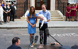 LONDON- UK - 23-JULY-2013- Britain's Prince William, The Duke of Cambridge and Kate, The Duchess of Cambridge leave the Lindo Wing of St Mary's Hospital with the new royal baby.<br /> Photo by Ian Jones