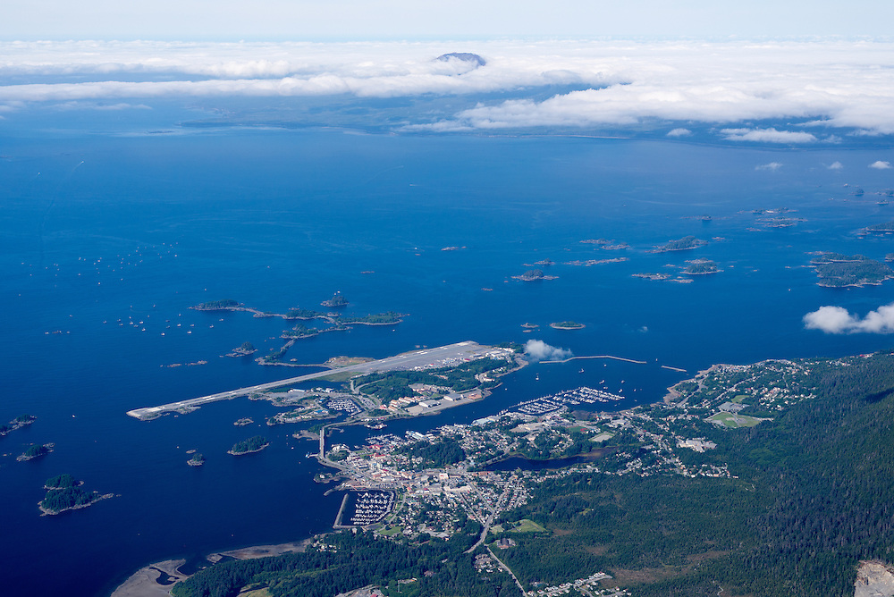 Aerial view of Sitka, Alaska, with Mt. Edgecumbe in the background.