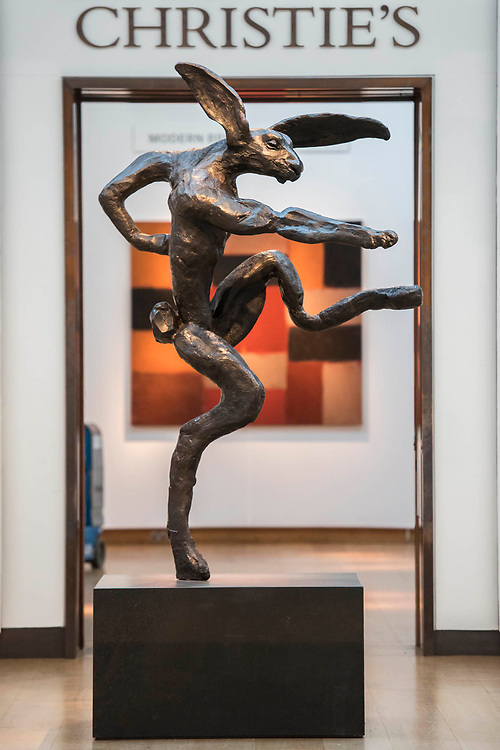 Nijinski Hare by Barry Flanagan, est £600-800,000 - Christie's preview exhibition of works from its upcoming Modern British & Irish Art Evening Sale, on view to the public from 18-22 November 2017. The auction will take place on 22 November 2017 at Christie's King Street.