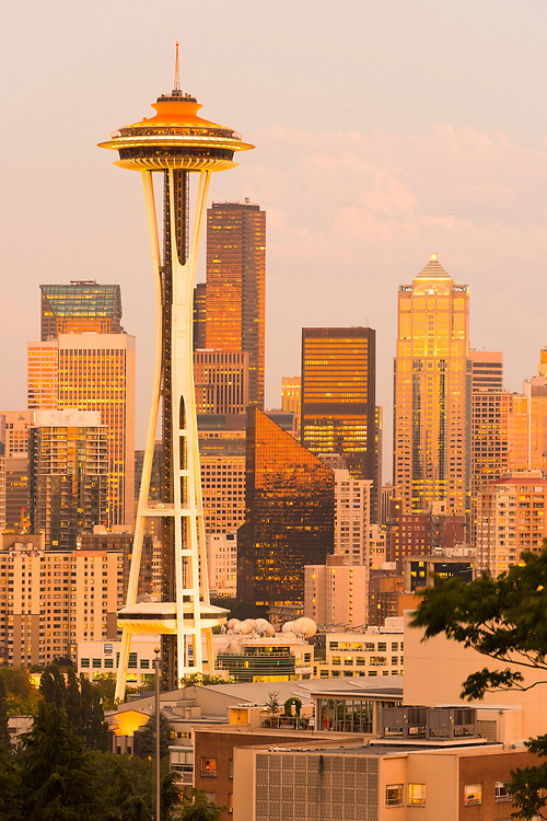 Seattle, Washington, United States - July 12, 2012: Space Needle and skyline of downtown buildings at sunset