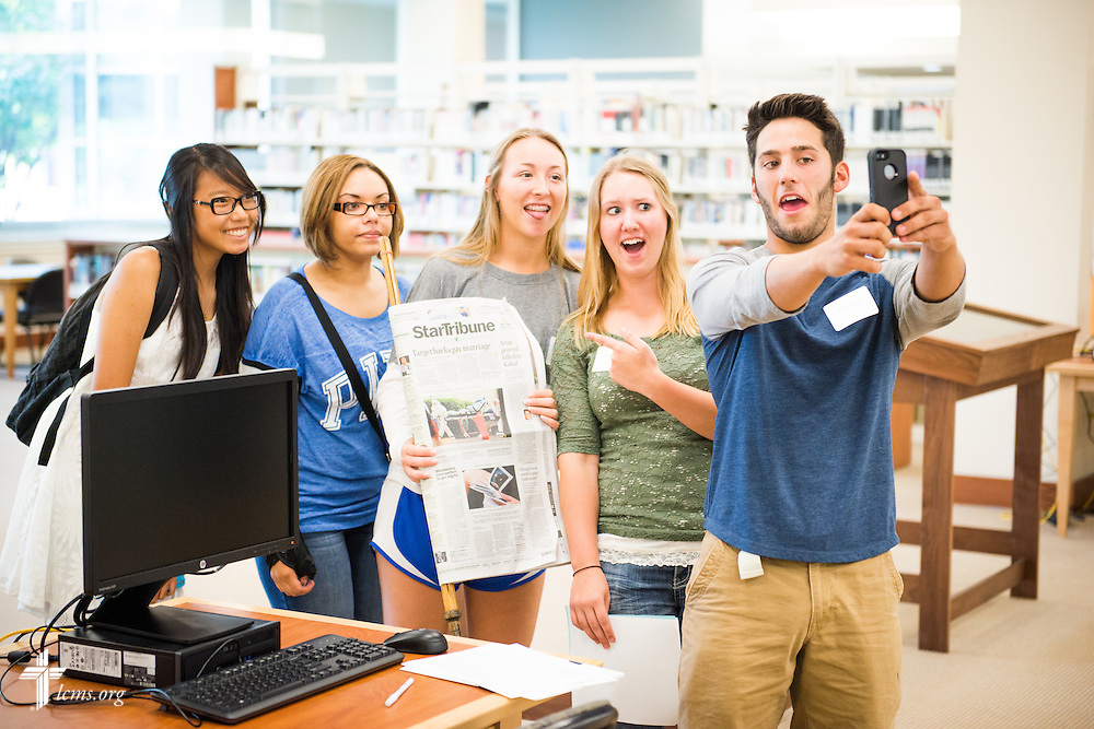 Students complete an orientation exercise in the Library Technology Center at Concordia University, Saint Paul, on Wednesday, August 6, 2014, in St. Paul, Minn.   LCMS Communications/Erik M. Lunsford