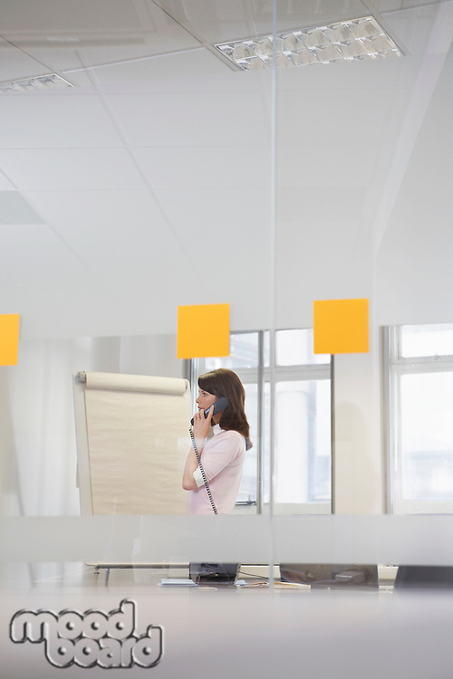 Woman working in office talking on phone