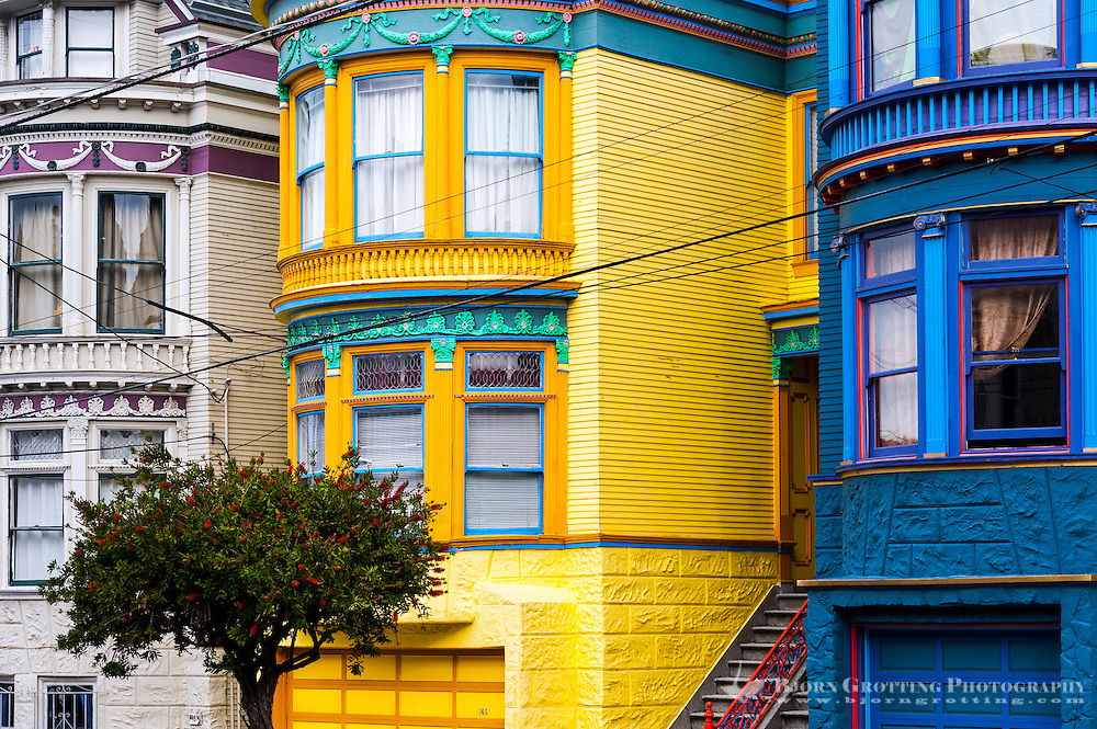 United States, California, San Francisco. Colourful houses in the Haight-Ashbury district.
