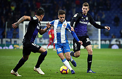 January 4, 2019 - Barcelona, Spain - Melendo, Gumbau and Silva during the match between RCD Espanyol and CD Leganes, corresponding to the week 18 of the Liga Santander, played at the RCDE Stadium on 04th January 2019 in Barcelona, Spain. (Credit Image: © Joan Valls/NurPhoto via ZUMA Press)