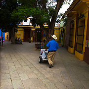 Ice cream seller on the streets of Oaxaca City Mexico.